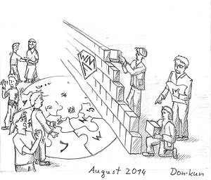 Wikimedia Foundation building a wiki wall in August 2014. Cartoon CC BY-SA, Don-kun.