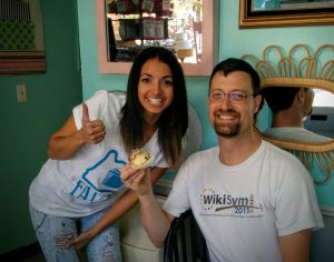 "Angelica, owner of Fat Cupcake, poses with me and her ""controversial"" cupcake. Photo by KATU news anchor, at Pete's request."