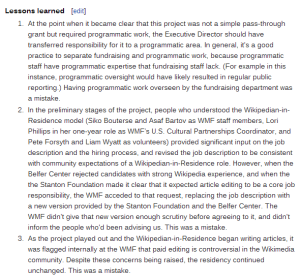 "The ""Lessons Learned"" identified in the Wikimedia Foundation's report"